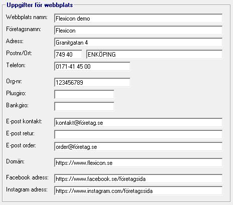 Uppgifter för webbplats
