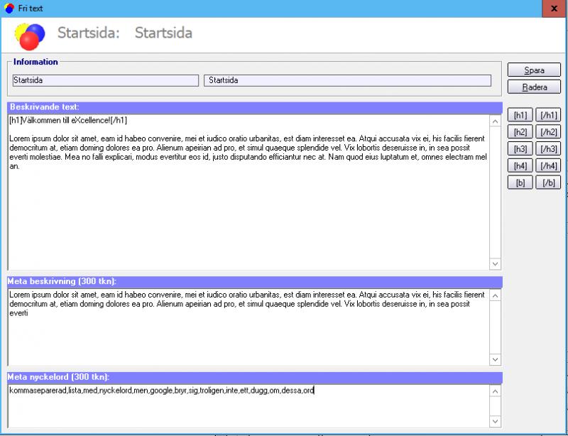 Ange text och metadata för startsidan.